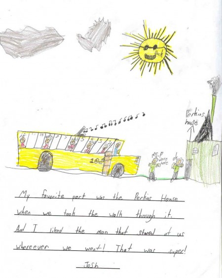 School Program - Josh's drawing of his trip to Perkins House