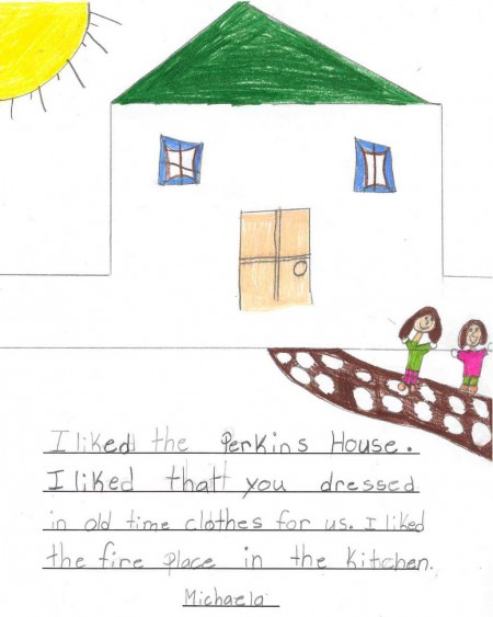 School Program: Michaela's drawing and memories of trip to Perkins House