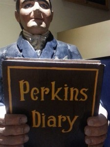 Carving of Simeon Perkins and his Diary