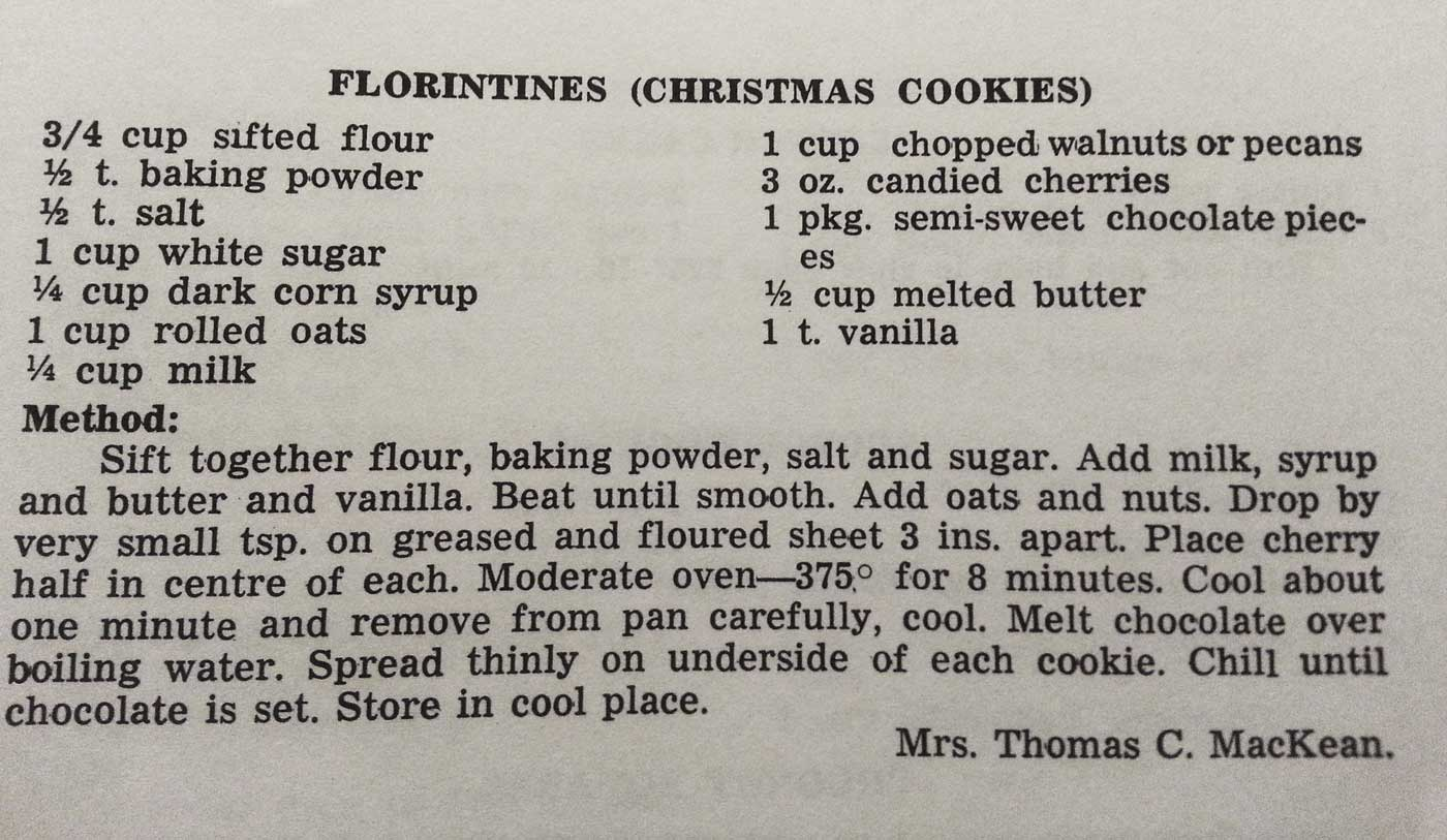 Perkins' Hearth Recipe: Florintines (Christmas Cookies)