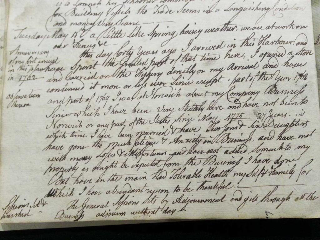Simeon Perkins Diary Entry marking 40th anniversary of life in Liverpool, Nova Scotia