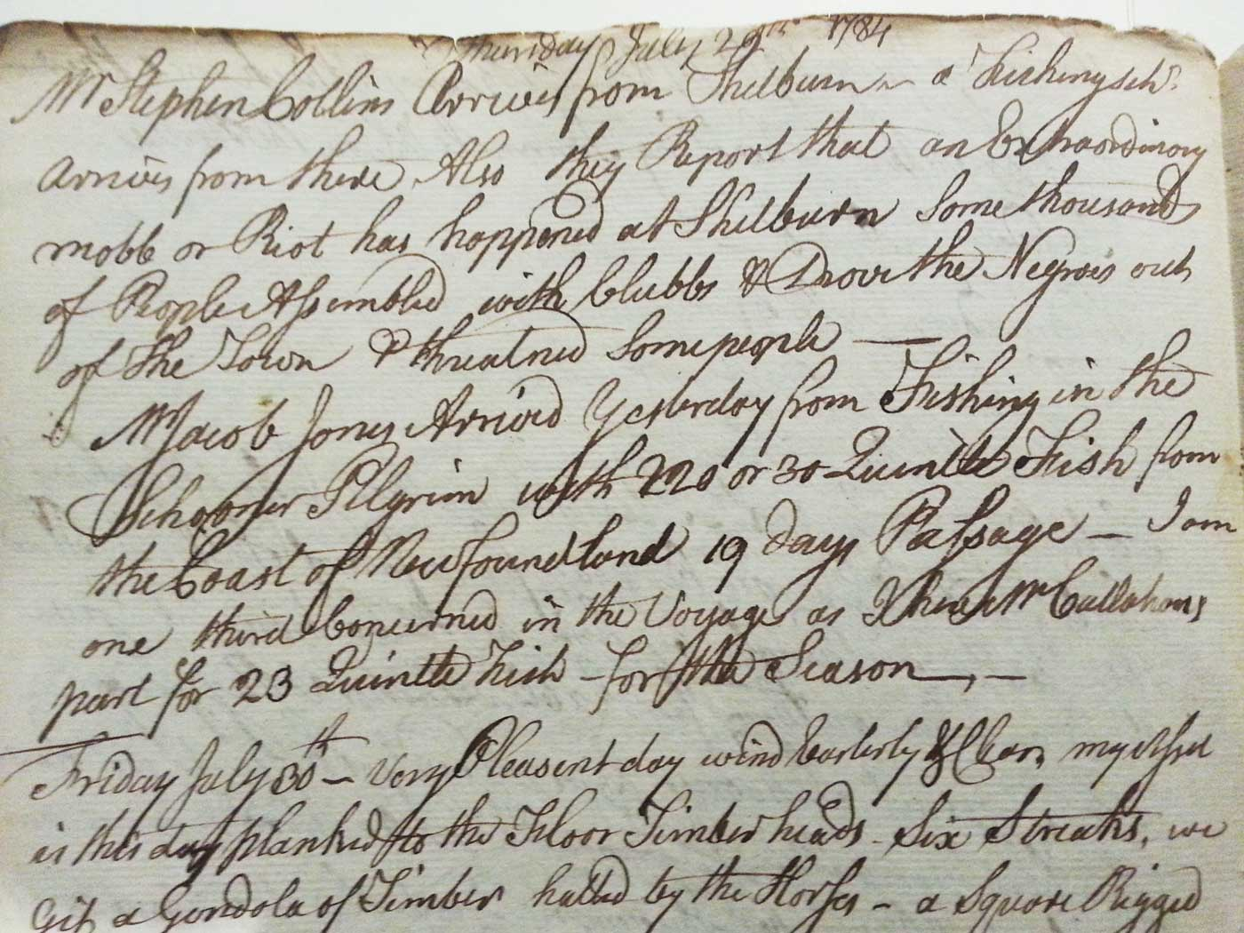 Simeon Perkins Diary Handwritten Page Entry for July 29, 1784 ShelburneRiot