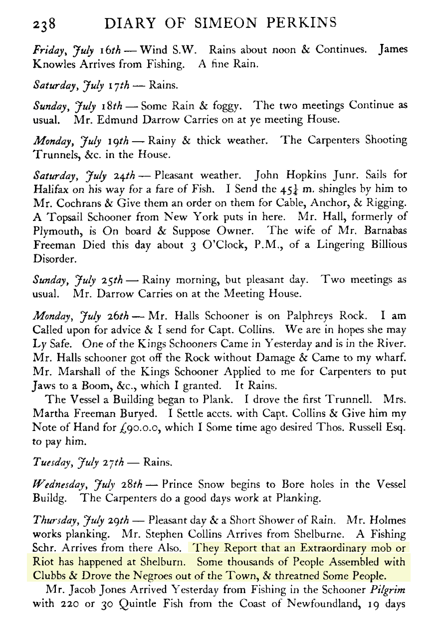 Simeon Perkins Diary Page 1784, Typed Version
