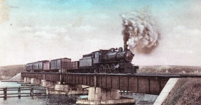 Liverpool Train on Bridge, over Mersey River