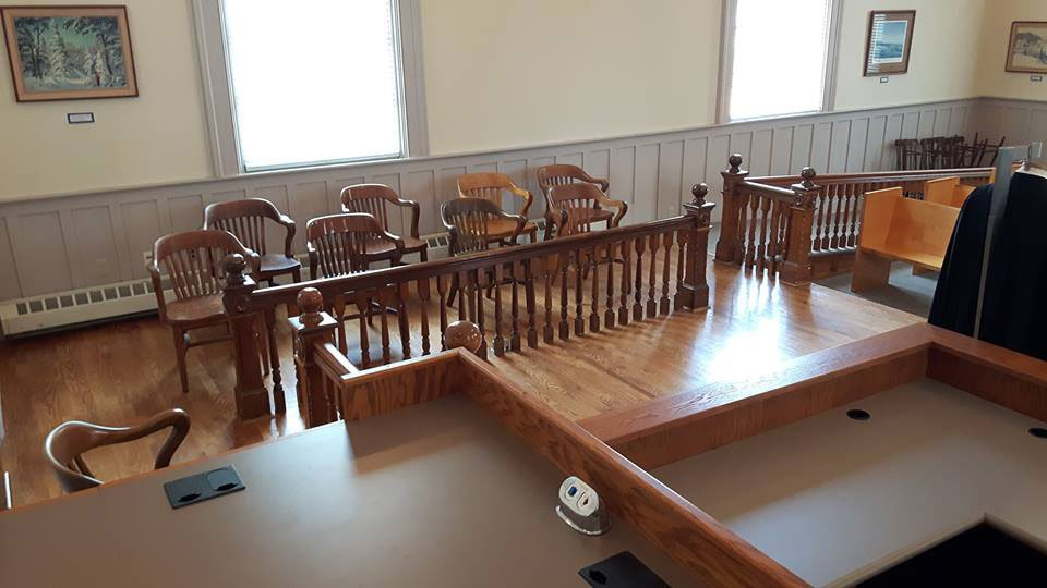 The chairs for jurors in the Couthouse